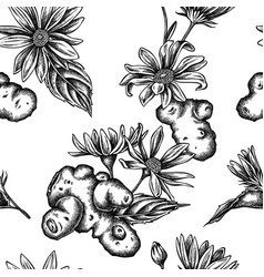 seamless pattern with black and white jerusalem vector image