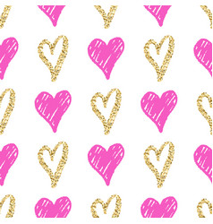 seamless pattern with hand drawn golden and pink vector image