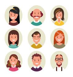set avatars happy smiling people vector image