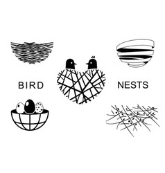 Set bird nests icons 3 vector