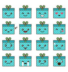 set cute kawaii emoji vector image