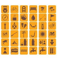 Set of tourist ecvipment icons vector