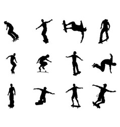 Silhouette outlines of skating skateboarders vector
