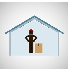 silhouette worker delivery with box vector image