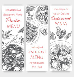 Sketch - pasta card menu vector