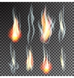 Smoke and flames on transparent background vector image