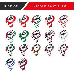 Spirit rising fist hand middle east flag vector