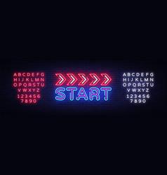 start neon sign design template start race vector image