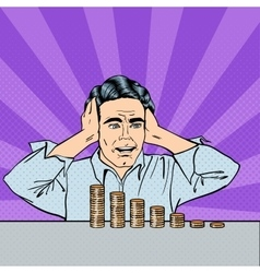 Stressed Businessman with his Last Money Pop Art vector