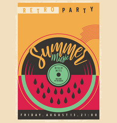 summer disco party invitation with vinyl record vector image