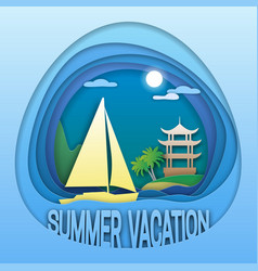 summer vacation logo template sailing yacht at vector image