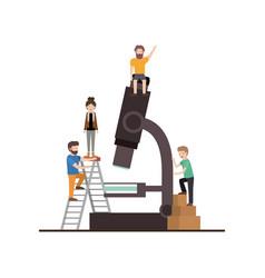 Teamwork mini people doing microscope vector