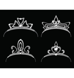 Tiaras and crowns with diamond set vector