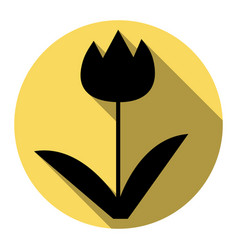 tulip sign flat black icon with flat vector image