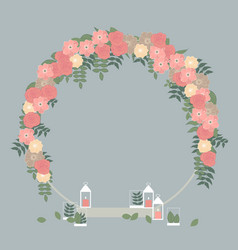 Wedding circle arch with pink flowers vector