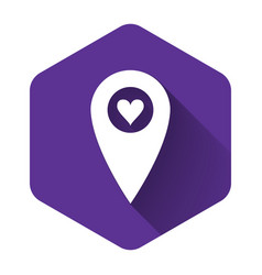 White map pointer with heart icon isolated with vector