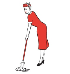 Woman cleaning the house vector image
