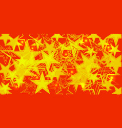 yellow background in red and orange stars vector image