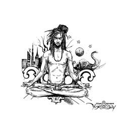 Yoga guru baba looking for inner peace with urban vector