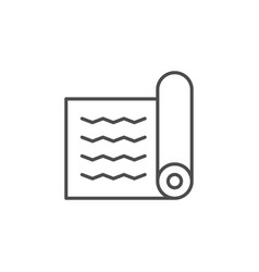 Yoga mat line outline icon vector