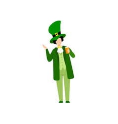 young man in green irish costume and hat with beer vector image