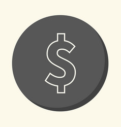 dollar symbol round line icon with the vector image