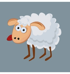 Funny sheep with his tongue hanging out vector image