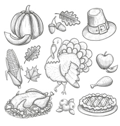 Set of Thanksgiving icons vector image vector image