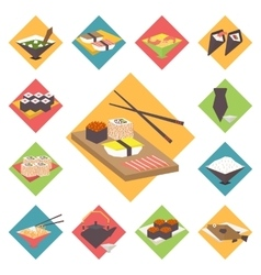 Sushi Japanese cuisine food icons set flat vector image vector image