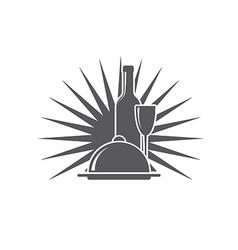 wineglass wine bottle dish menu icon vector image vector image