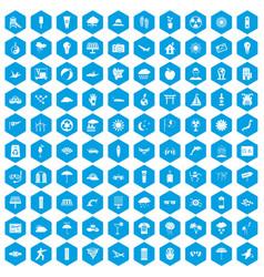 100 sun icons set blue vector