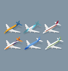 color passenger airplane color icon set isometric vector image vector image