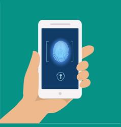 Finger print smart phone access lock screen vector image vector image