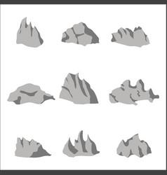 grey stone rock set vector image