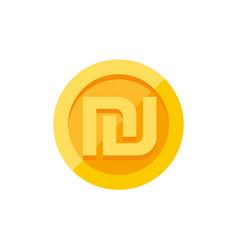 israeli shekel symbol on gold coin flat style vector image vector image