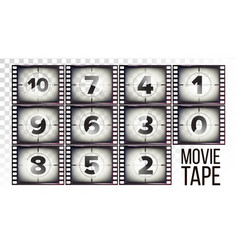 movie tape countdown monochrome brown vector image