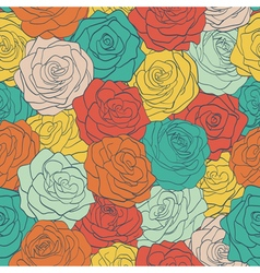 seamless pattern colorful vintage roses vector image vector image