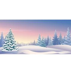 Winter sunrise panoramic vector image vector image