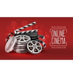 Online cinema with film tape vector image