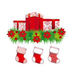 ornament christmas flowers with box gifts and vector image vector image