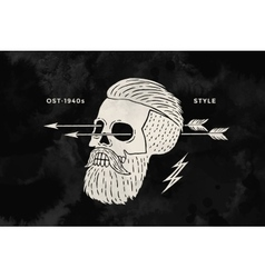 Poster of vintage skull hipster label for t-shirt vector image