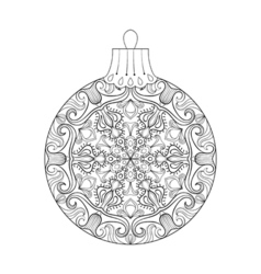 Vintage Christmas ball with mistletoe New Year vector image vector image