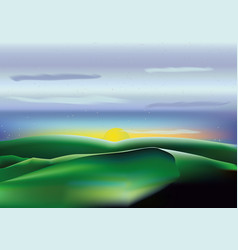 landscape with green hills blue sky clouds and sun vector image