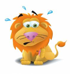lion with thorn in paw vector image