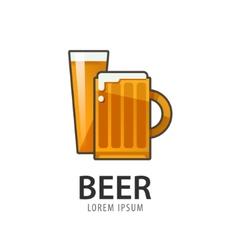 Original badge logo design icon template for beer vector image