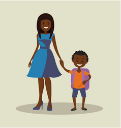 African-american mother with her child schoolboy vector