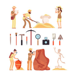 Archeology archeologist people paleontology vector