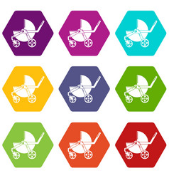 baby carriage modern icons set 9 vector image