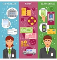 Bank Employees Vertical Banners vector