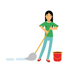 Beautiful young brunette woman housewife cleaning vector
